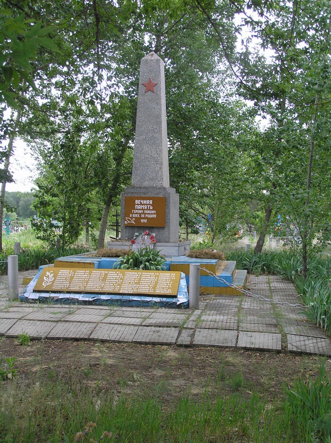 Братская могила советских воинов, погибших в период Сталинградской битвы, х. Теркин, кладбище